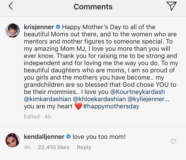 Kendall Jenner Calls Out Her Mom On Mother's Day